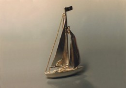 sterling and 14kt gold sail boat