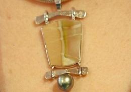 sterling pendant, willow creek jasper with Tahitian pearl.