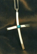 sterling cross pendant set with natural turquoise.