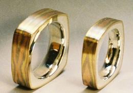 14kt. tri-gold mokume gane and sterling wedding bands