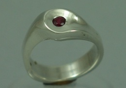sterling silver ring with natural ruby.