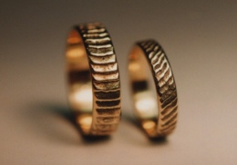 14kt yellow gold wedding rings.