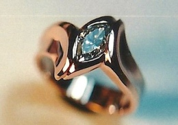 14kt. rose gold engagement ring, with diamond
