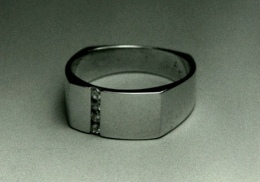 14kt white gold gents wedding ring with diamonds