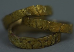 24kt gold nugget wedding band suite.