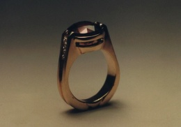 14kt yellow gold ladies ring, with natural red spinel and  diamonds