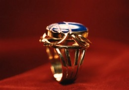 14kt.gold ring for scarab cut lapis cabochon