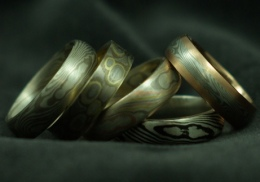 tri-gold and silver mokume-gane rings
